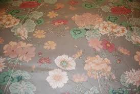 Vintage Drapery Fabric Z128 Vintage English Chintz Leaves Flowers Floral Silver Gray