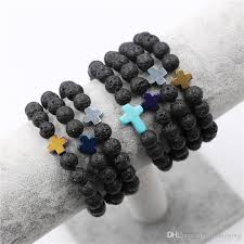 silver cross bracelet charm images 2018 wholesale natural lava stone prayer beads charms bracelets jpg