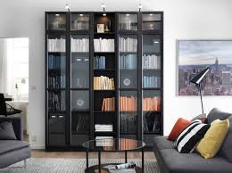 Wooden Bookcase With Glass Doors Furniture Home Library With Black Wooden Book Cabinet Using Glass