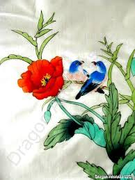 Flower And Bird - silk flowers and birds painting