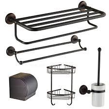 5 piece black brass oil rubbed bronze bathroom accessory sets
