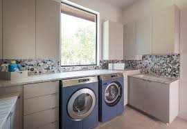 Gray And Blue Laundry Room With Blue And Gray Recycled Glass Tile - Recycled backsplash
