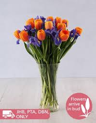 buy iris and tulip vase arrangement colour netflorist