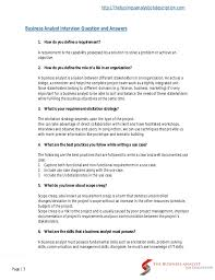 Do You Need A Resume For An Interview Business Analyst Interview Questions And Answers