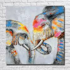 framed two loved elephants pure hand painted modern wall decor abstract animal art oil painting on high quality canvas multi sizes al my handpainted