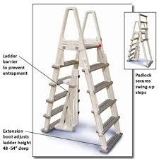 duty a frame ladder with safety barrier