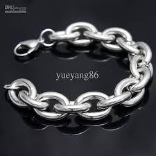 link men silver bracelet images Free ship strong men 39 s high polished stainless steel 15mm huge jpg
