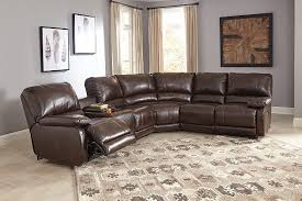 Brown Leather Sectional Sofa Hallettsville 4 Piece Sectional W Power Ashley Furniture Homestore