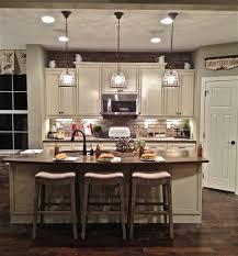 kitchen hanging string lights laminate oak wood flooring gray