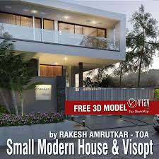 free sketchup 3d model and vray visopt small modern house shared