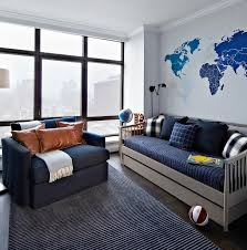 Blue And Gray Bedroom Blue And Gray Boys Room With Gray Spindle Daybed Contemporary