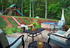 Backyard Play Structure by Superb Plug And Play Tub In Deck Traditional With Trampoline