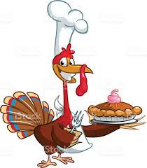 thanksgiving turkey art thanksgiving turkey chief cook serving pumpkin pie vector cartoon
