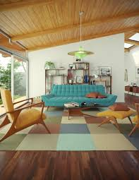 Fluffy Armchair Furniture Mid Century Room With Brown Wood Cabinet Near Black