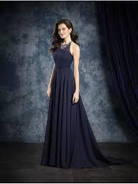 line halter long navy chiffon bridesmaid dresses 906034