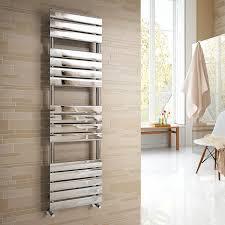 vicenza designer flat chrome heated bathroom towel rail radiator