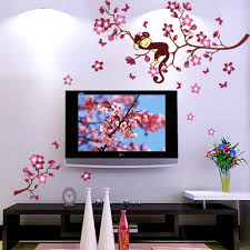 only peach blossom flowers monkey beautiful spring view peach blossom flowers monkey beautiful spring view diy wall wallpaper stickers art decor mural room decal