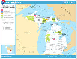 Map Of Michigan Lakes by Map Of Michigan Map Federal Lands And Indian Reservations