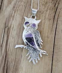 owl necklace silver images Sterling silver owl necklace with wampum inlay jpg
