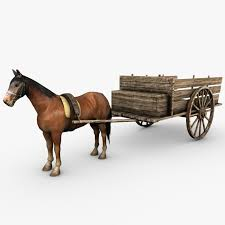 wooden cart with 3d model