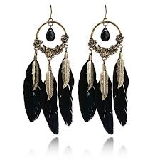 black dangle earrings bohemian black 0nyx gold plated hallow out drop feather dangle