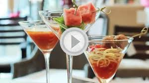 3 cocktail party appetizers served in martini glasses video on