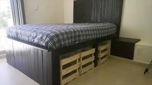 Pallet Bed Frame Plans Diy Pallet Bed With Storage 99 Pallets