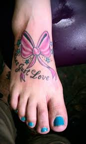 cancer ribbon tattoo designs for women on foot cancer ribbon