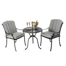 Aluminium Bistro Chairs Cast Aluminium Bistro Table 28 Inch With 2 Venetian Chairs Black