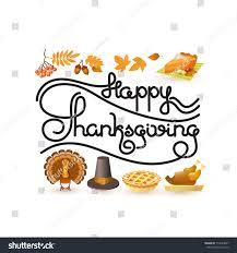 happy thanksgiving card handwritten words autumn stock vector
