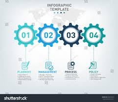 A World Map Vector Infographic Template Gears Icons 4 Stock Vector 609239105
