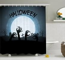 spooky halloween haunted graveyard bathroom shower curtains