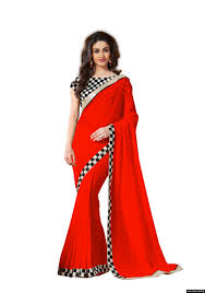 georgette red colour lace broder workdesigner saree