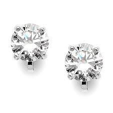 clip on earrings that don t hurt mariell silver platinum plated 2 carat cz clip on