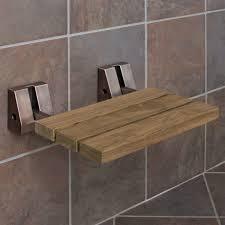 wall mount teak folding shower seat bathroom oil rubbed bronze