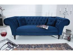 canap chesterfield 3 places chesterfield 3 places velours bleu beth 225 cm