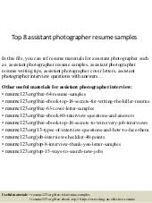top 8 assistant photographer resume samples