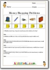 grade 3 money shopping problems assessment worksheet printable