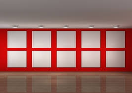 painting exhibition hall red background wall design download 3d