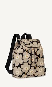 erika mini unikko backpack black sand gold marimekko com