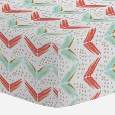 coral and teal chevron crib sheet carousel designs