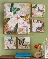 Bedroom Wall Art Sets 5 Pc Canvas Wall Art Set Butterfly Butterflies Faith Hope Love Joy