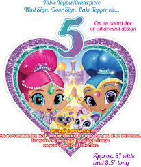 shimmer and shine table topper age 5 shine party decor