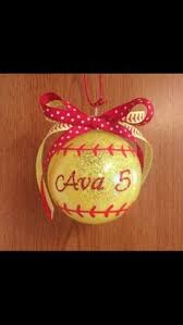 personalized softball ornament decoration keepsake for