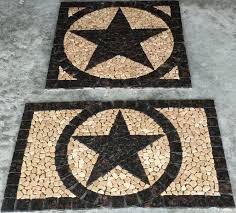 tan brown granite texas star mosaic marble medallion backsplash