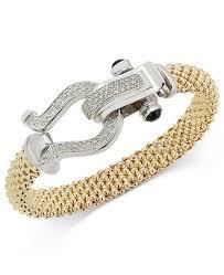 sterling silver bracelet clasp images Macy 39 s diamond horseshoe clasp mesh bracelet 5 8 ct t w in 14k tif