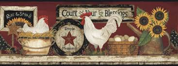 country wall border primitive wall border star border rooster