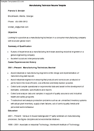 sample manufacturing technician resume template sample templates