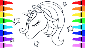 how to draw unicorn coloring pages for kids children drawing