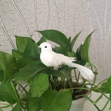 15pcs decorative mini dove artificial foam feather white craft birds